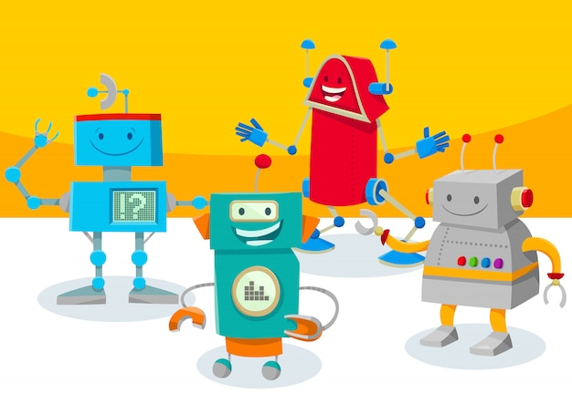 ロボットやドロイドのキャラクターの漫画イラスト