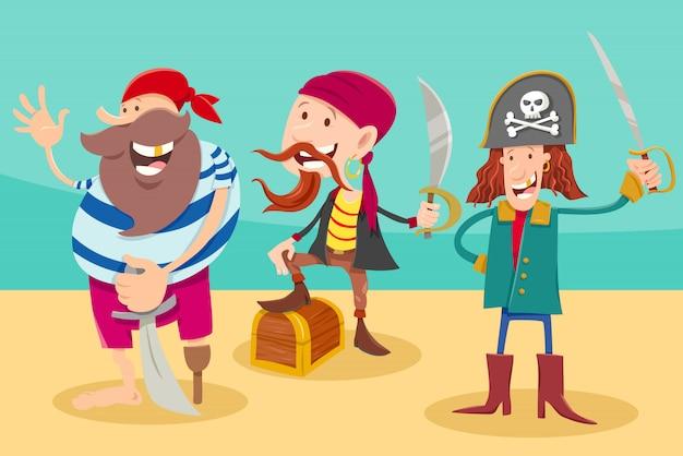 Иллюстрация шаржа смешных персонажей фантазии пиратов