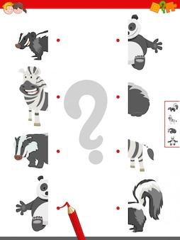 変な動物の半分をマッチングする教育ゲーム