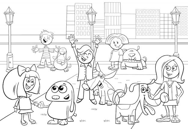 犬のグループを持つ子供の漫画イラスト