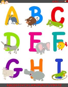 動物とセットのアルファベットの漫画イラスト