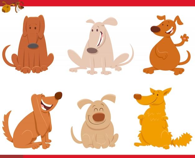 幸せな犬の漫画イラストキャラクターセット