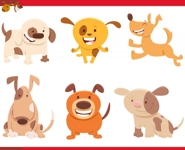 面白い犬の漫画イラストキャラクターセット