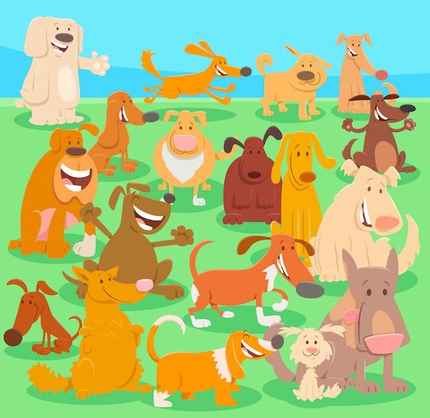 Карикатура иллюстрации группы собак и щенков