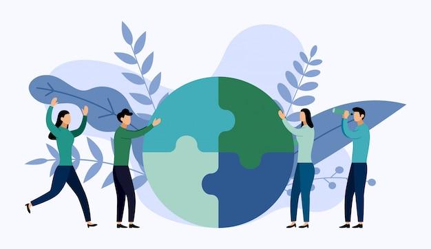チーム作業、パズル要素を接続する人々