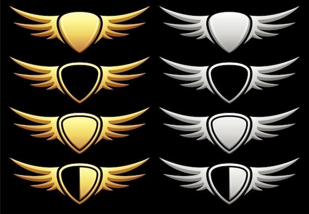 Набор геральдического щита с крыльями на черном