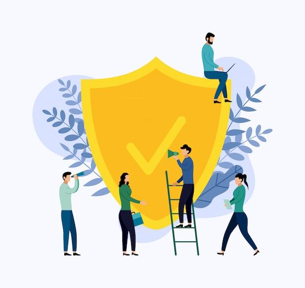 保険ポリシーの概念、データセキュリティ、ビジネスイラスト