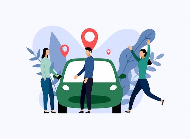 カーシェアリングサービス、モバイル都市輸送、ビジネスイラスト