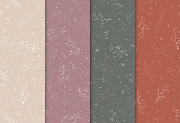 手描きの花、イラストのシームレスパターン