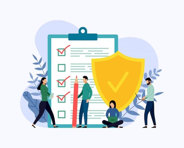 保険ポリシーの概念、データセキュリティ。