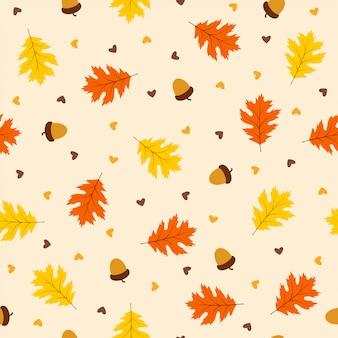 葉と秋のシームレスパターン