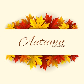 秋の葉の背景を持つフレーム