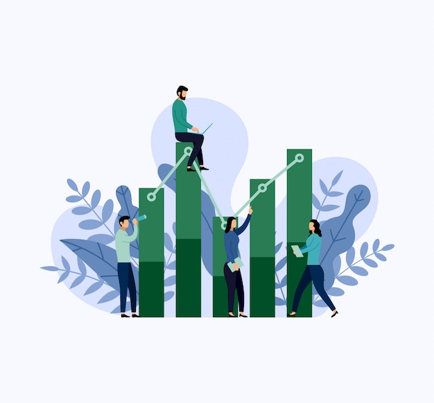 Бизнесмены вокруг статистики