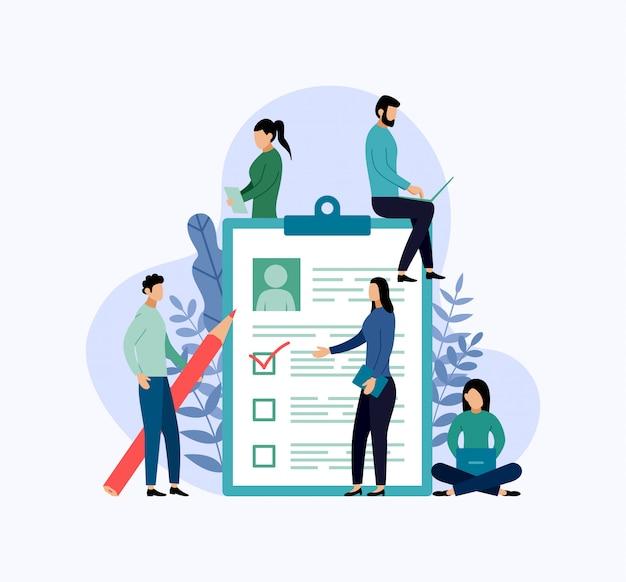 採用、チェックリスト、アンケート、ビジネス概念ベクトル図