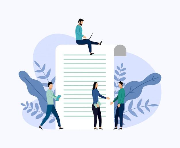 オンライン調査レポート、アンケート、ビジネス概念ベクトル図