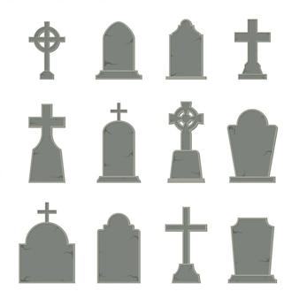 白い背景の墓石の形のセット、