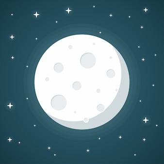 青色の背景に月フラットなデザインスタイル
