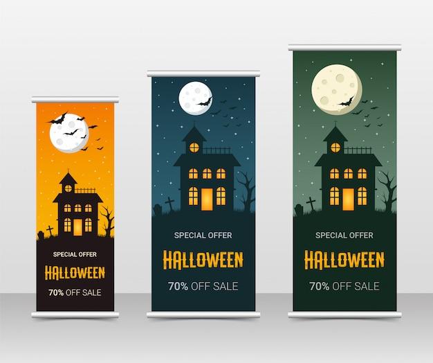 Счастливый хэллоуин бизнес свернуть набор шаблонов, иллюстрация