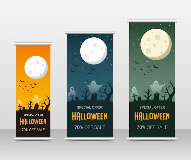 Счастливый хэллоуин бизнес свернуть набор шаблонов