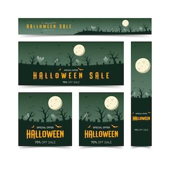 Счастливый хэллоуин веб-баннеры дизайн набор шаблонов