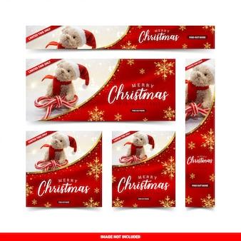 Рождественская распродажа веб-баннеры набор шаблонов