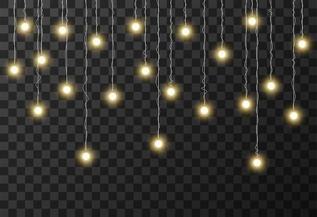 クリスマスライトの透明な背景