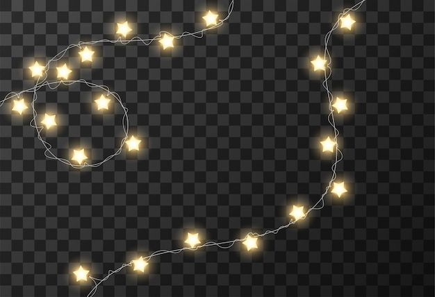 Рождественские огни прозрачный фон