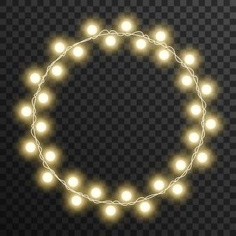 Рождественские огни круг рама, изолированных на прозрачном фоне