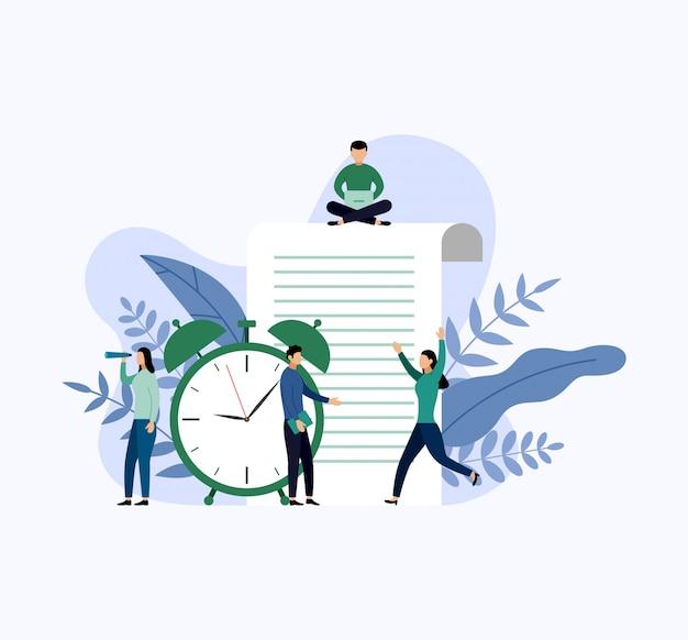 時間管理、スケジュールの概念またはプランナー、ビジネスコンセプト