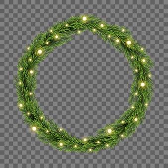 モミの枝と透明な背景のライトのクリスマスツリーの装飾