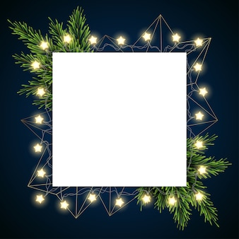 Рождественский фон с еловыми ветками на темном фоне