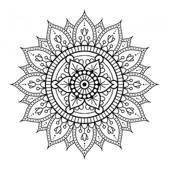 白い背景の上の丸い曼荼羅