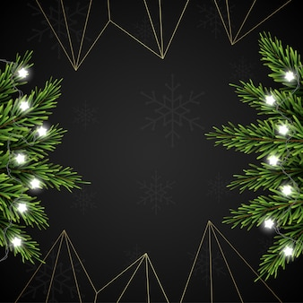 暗い背景にモミの枝とクリスマスの背景