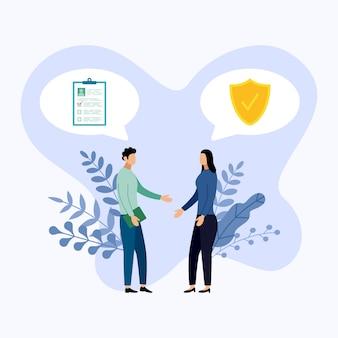 Два человека говорят об охране здоровья