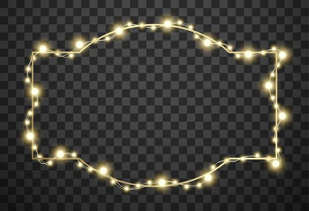 透明な背景にクリスマスライト付きフレーム