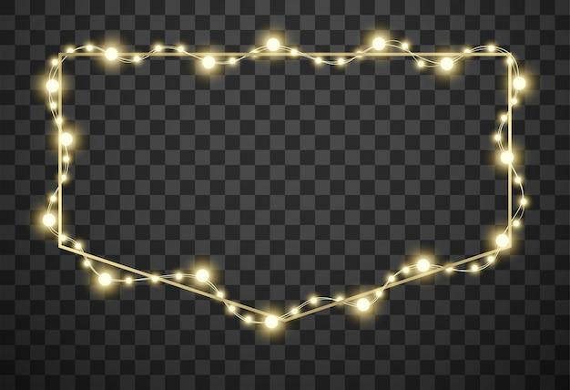 Рамка с рождественскими огнями на прозрачном фоне