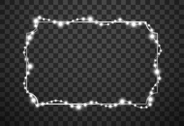 透明な背景に分離されたクリスマスライトフレーム
