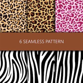 ヒョウとシマウマの皮とのシームレスなパターンのセット