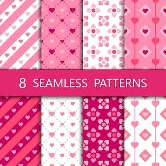 ピンクのハートのシームレスパターンのセット