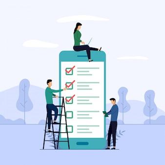 オンライン調査レポート、チェックリスト、アンケート、ビジネス概念図