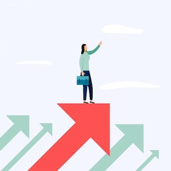 Бизнесмен, стоящий на стрелке, векторная иллюстрация бизнес-концепций