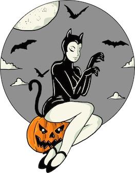 Черная кошка женщина