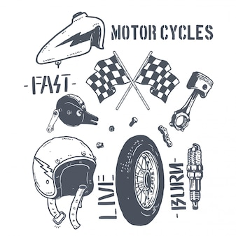Дизайн иллюстрации пакета частей мотоцикла
