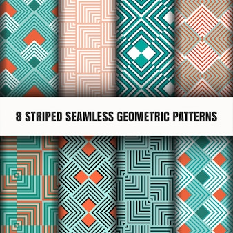 ストライプのシームレスな幾何学模様のセット