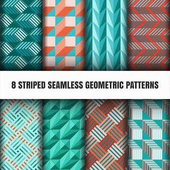 Набор полосатых бесшовных геометрических узоров