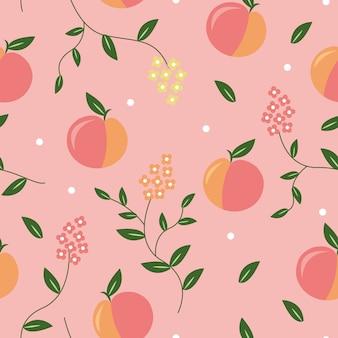 桃のシームレスなパターン