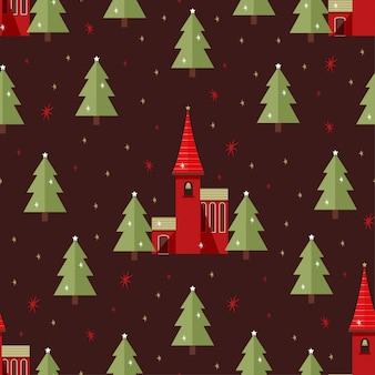 クリスマス教会のシームレスパターン
