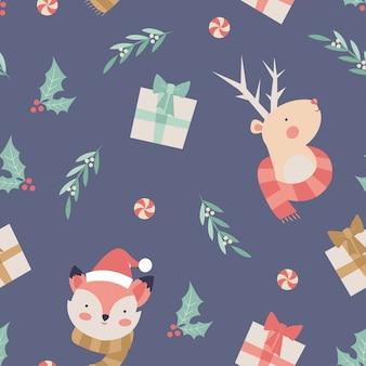 フォックスとトナカイのクリスマスのシームレスパターン