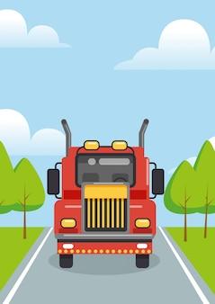 Иллюстрация красный грузовик