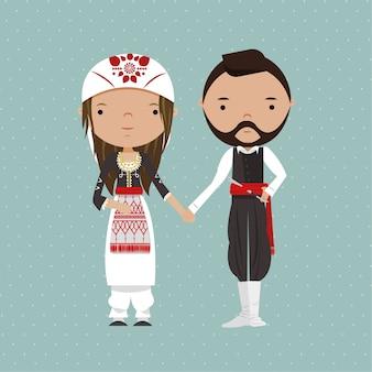 Традиционная греческая свадьба пара иллюстрация